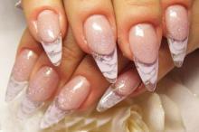 Свадебный аквариумный дизайн ногтей